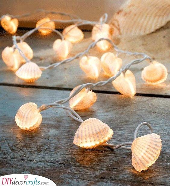A String of Shell Lights - Beautiful Summer Decorations