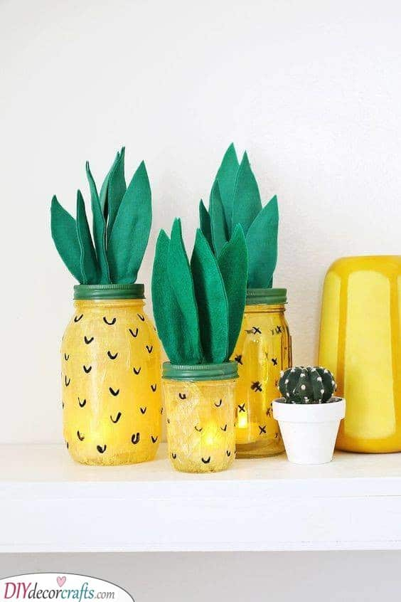 Adorable Mason Jars - Inspired by Pineapples