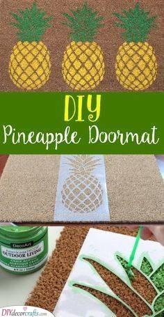DIY Pineapple Doormat - Summer Home Decor