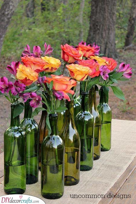 Wine Bottle Vases - Decorate Your Table for Summer