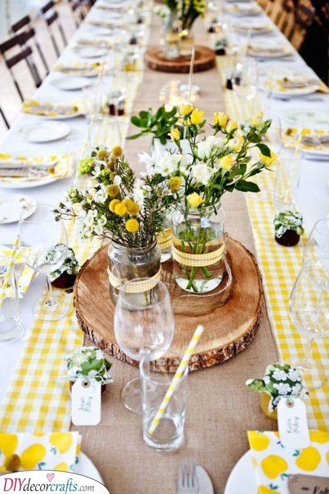 Yellow Tablescape - Ideas for Summer Table Centrepieces