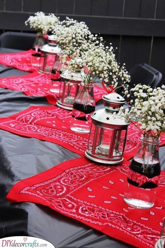 Bandana Table Decor - Outdoor Table Decoration for Summer
