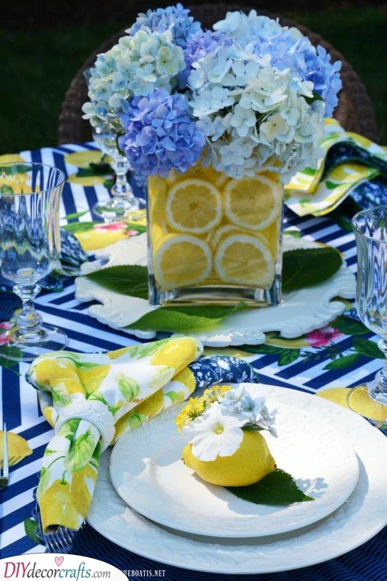 Citrus Inspired Vase - Summer Table Decorations