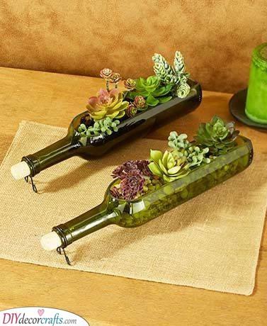Terrariums in Wine Bottles - Gorgeous Summer Table Decor