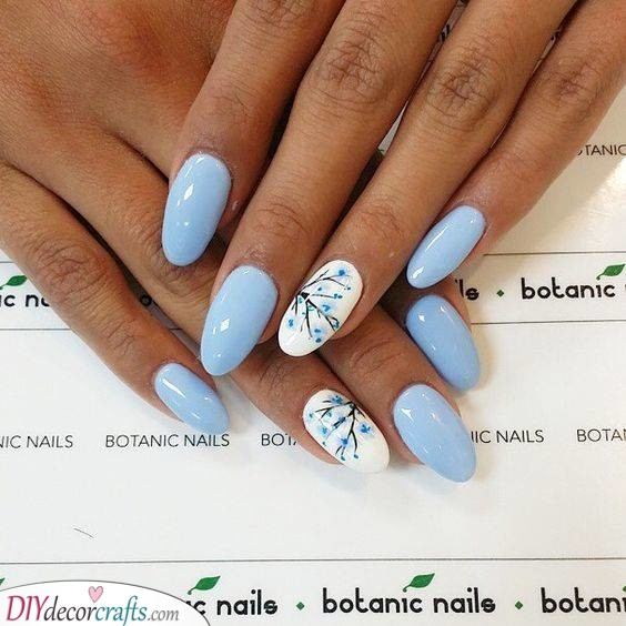 Blue Blossoms - Nail Designs for Spring