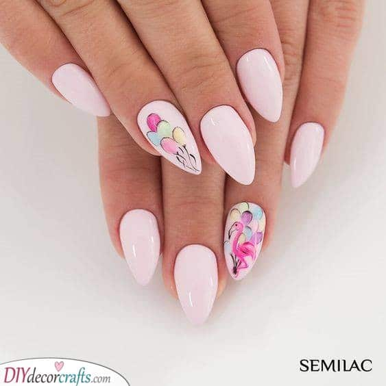 Flamingos and Balloons - Colourful Spring Nail Ideas