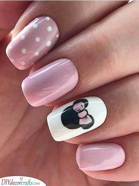 Minnie Mouse Inspired - Cute Nail Designs for Spring