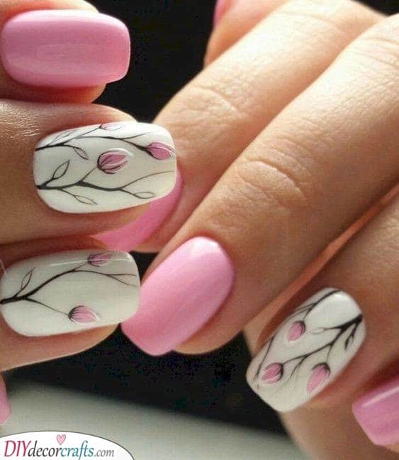 Pretty in Pink - Floral Nail Designs for Spring