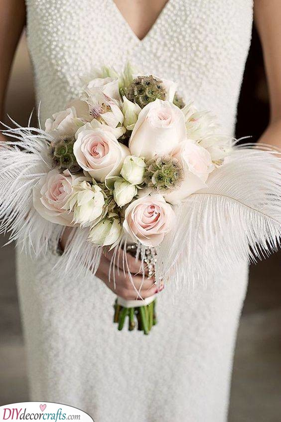 Feathers and Flowers - DIY Bridal Bouquets