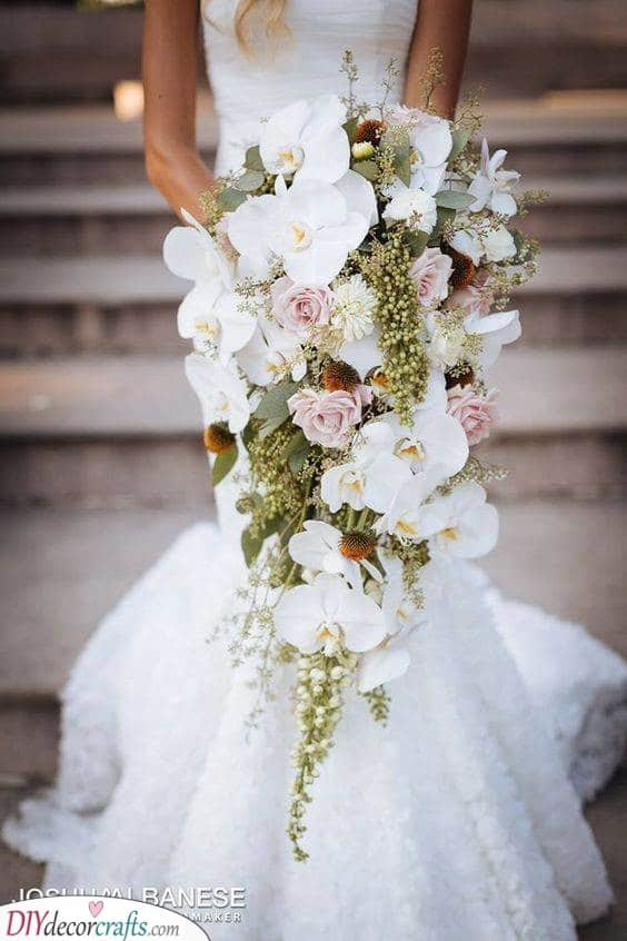 White Orchids and Pink Roses - Bridal Bouquet Ideas