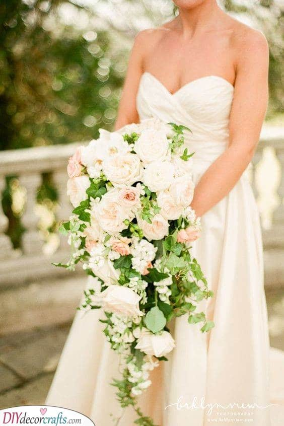 A Train of Roses - Cascading Bouquet Ideas