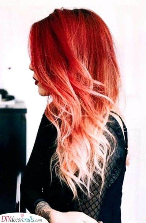 Vibrant Red - Long Hairstyles for Women