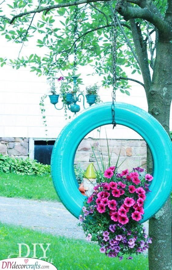 Painted Tire Planter - Handmade Spring Outdoor Decorations