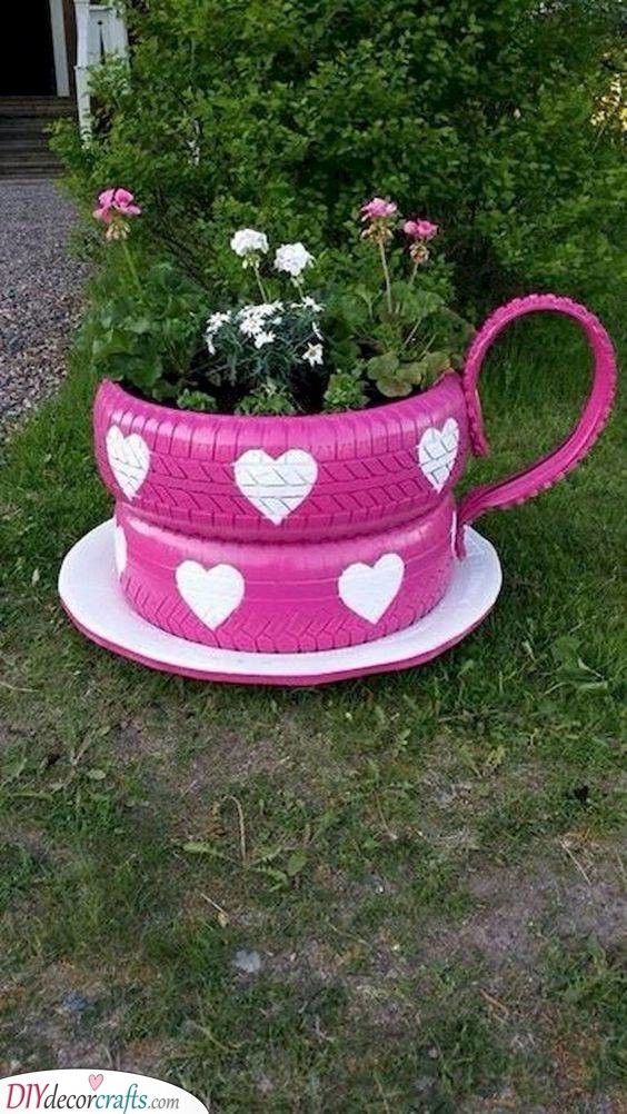 Teacup Out of Tires - DIY Crafts for the Garden