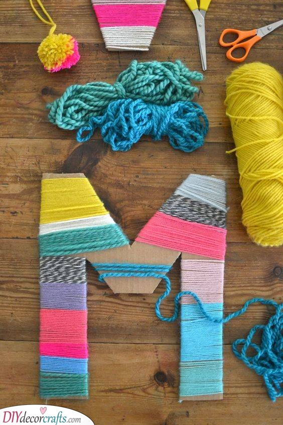 Yarn Letters - Cheap Mothers Day Gift Ideas