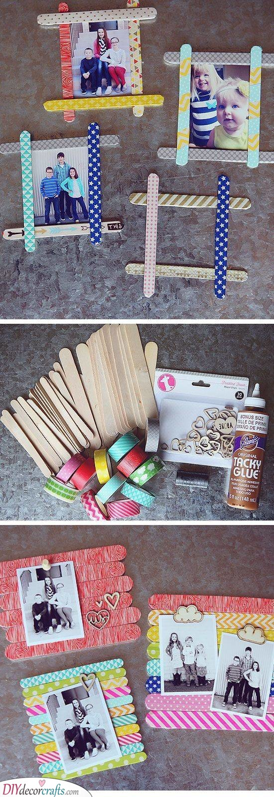 Popsicle Stick Frames - Easy DIY Crafts