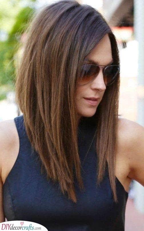 A Long Angled Bob - Fashionable Haircuts for Medium Hair