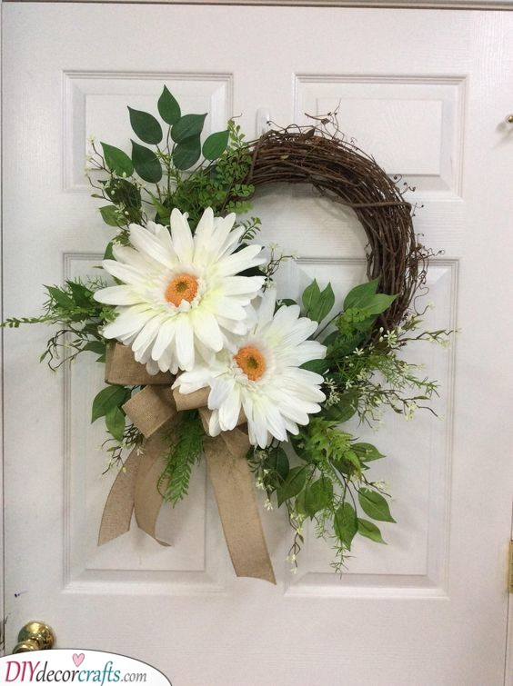 A White Gerbera - Door Wreaths for Spring and Summer