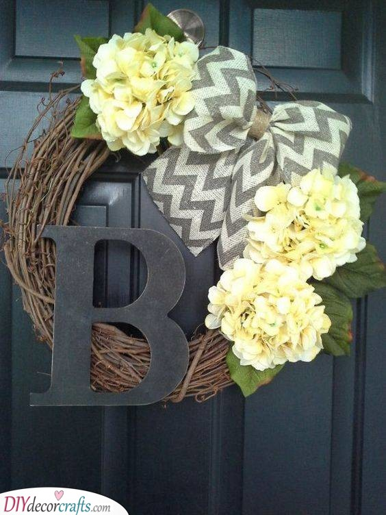 Hydrangea and Burlap - Summer Door Wreaths