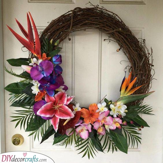 Tropical Flowers - Summer Wreaths for Front Doors