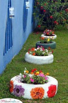 Tire Planters - Recycling Materials