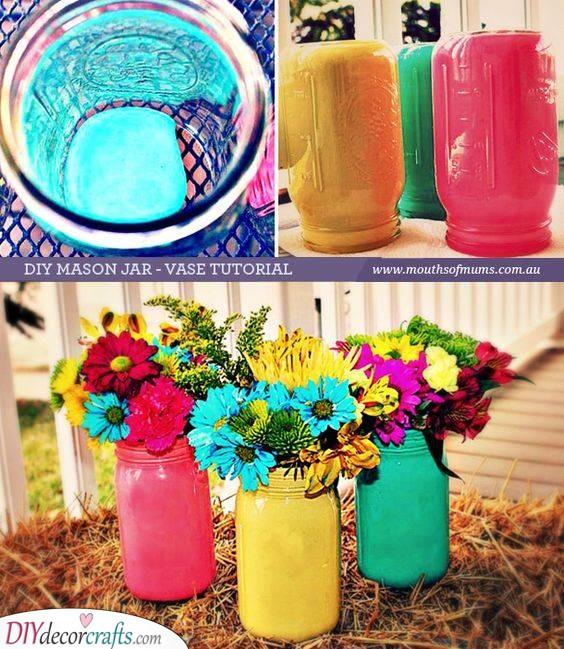 Vibrant Mason Jars - Garden Decoration Ideas for Summer