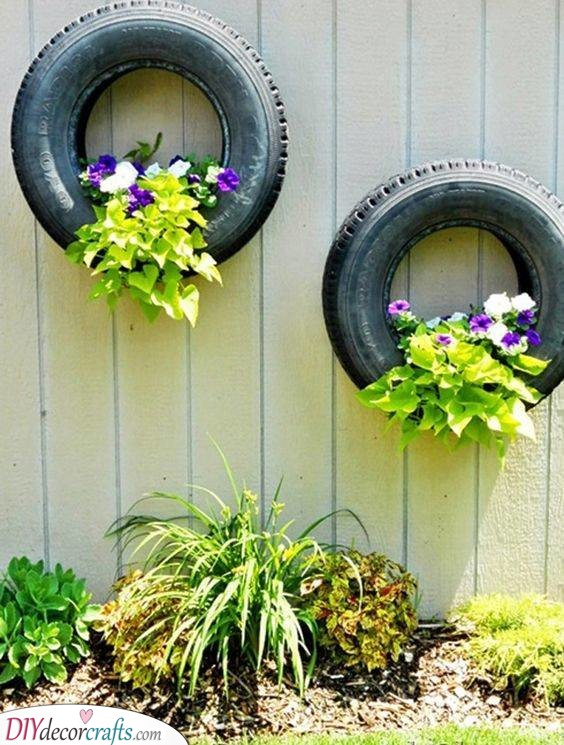 Tires as Wall Planters - Great Summer Garden Decoration