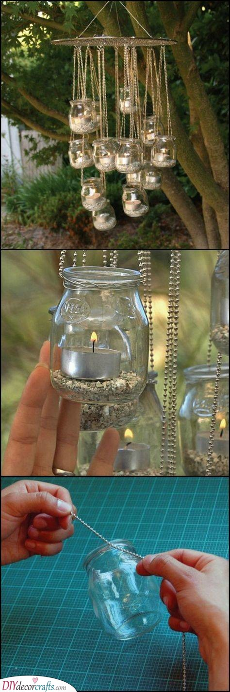 Candlelit Chandelier - Mason Jar Ideas