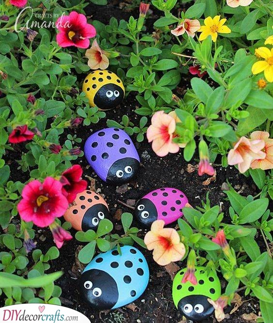 Painted Pebbles - Colourful Ladybugs