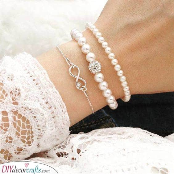 A Set of Bracelets - Silver and Pearls