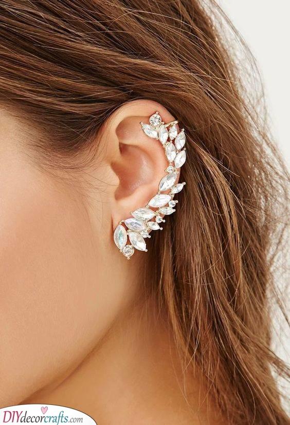 Crystal Clustered Earcuff - Wedding Bridal Jewellery