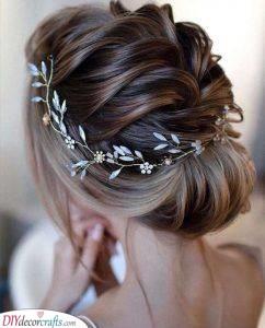 An Elegant Updo - With a Bridal Hair Vine