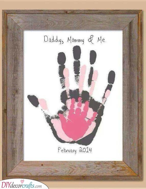A Family Print of Hands - Creative and Unique Birthday Ideas
