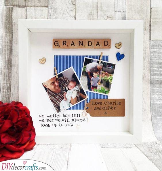 A Scrabble Frame - Birthday Gift Ideas for Grandpa