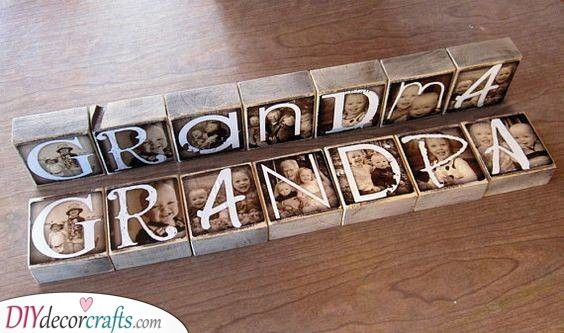 Photo Blocks of the Grandkids - Grandad Birthday Gifts