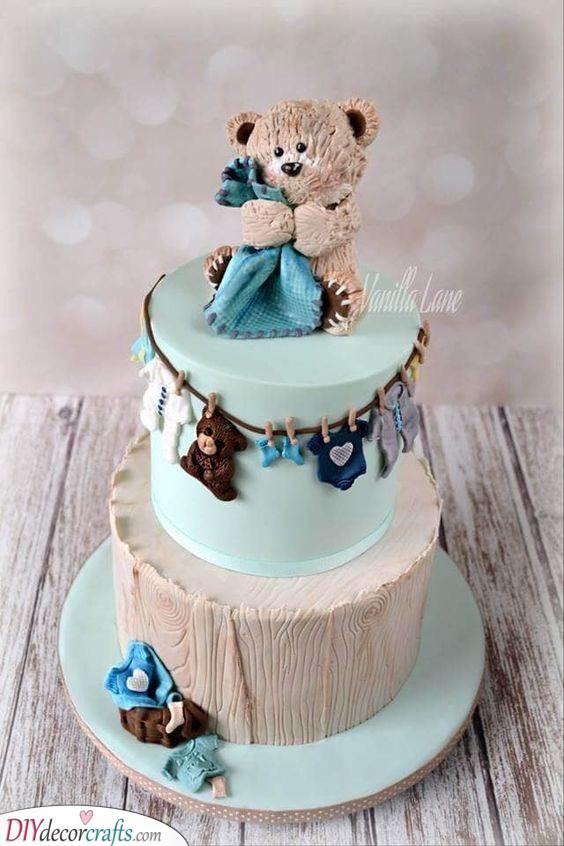 Adorable Teddy Bear - Baby Shower Cakes