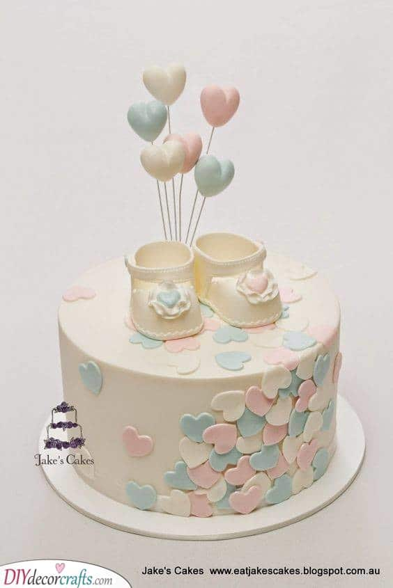 Hearts and Shoes - Baby Shower Cakes