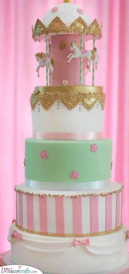 Cute Carousel - Baby Shower Cake Ideas