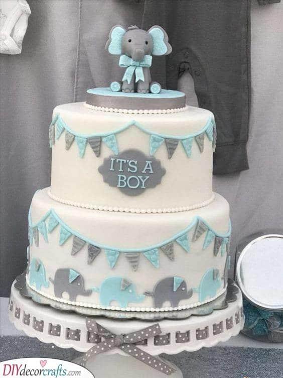 Baby Blue Elephant - Baby Shower Cake Ideas