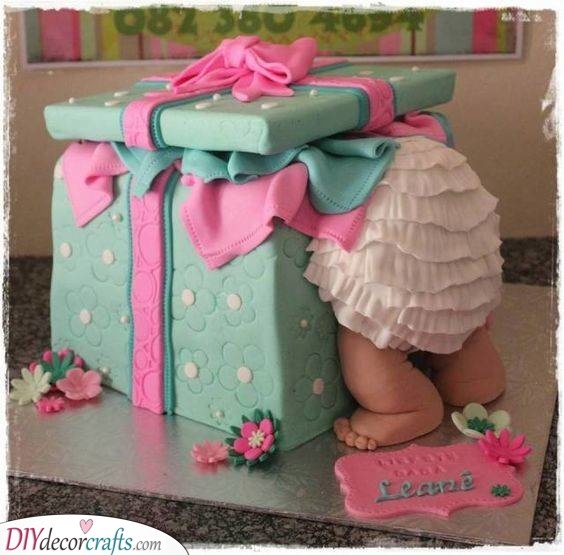 Baby in a Box - Baby Shower Cake Ideas