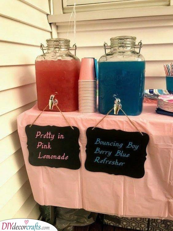 Pink or Blue Drinks - Baby Shower Party Ideas
