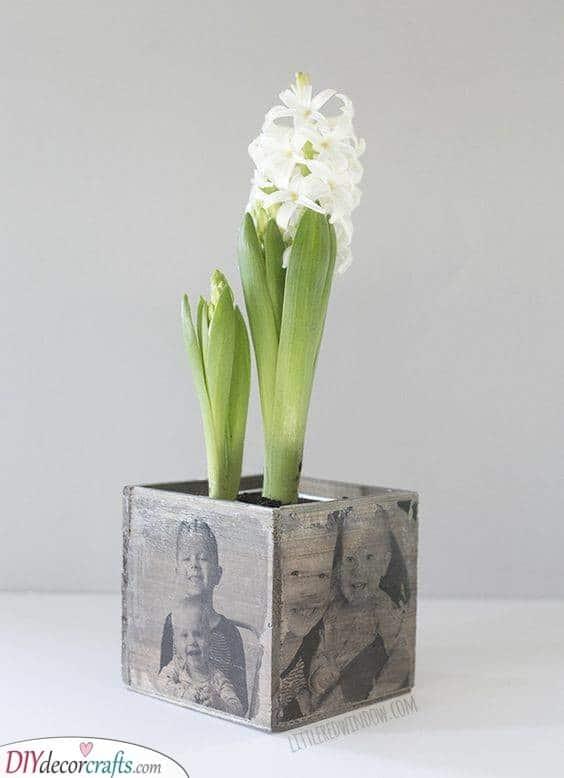 A Handmade Photo Planter - Unique Planter for Gran