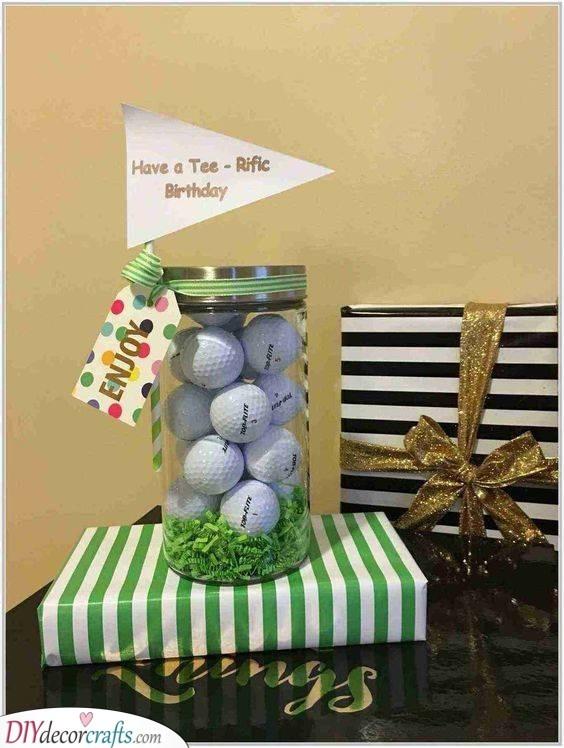A Jar of Golf Balls - Birthday Present Ideas for Dad