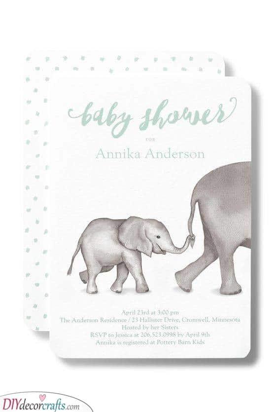 Baby Elephant Idea - Custom Baby Shower Invitations