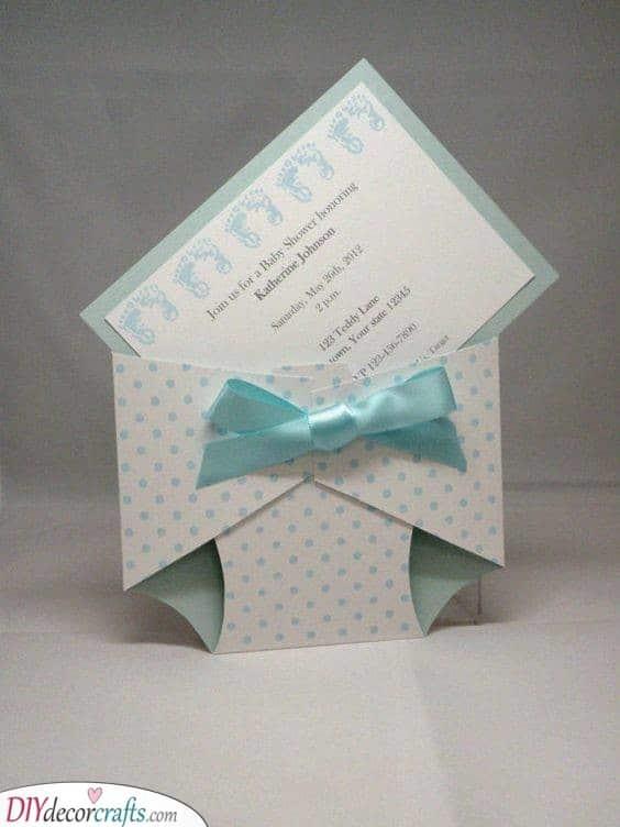 A Folded Diaper - Adorable Invitation Cards