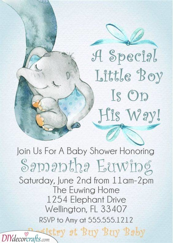Creative Cards - Elephant Baby Shower Invitations