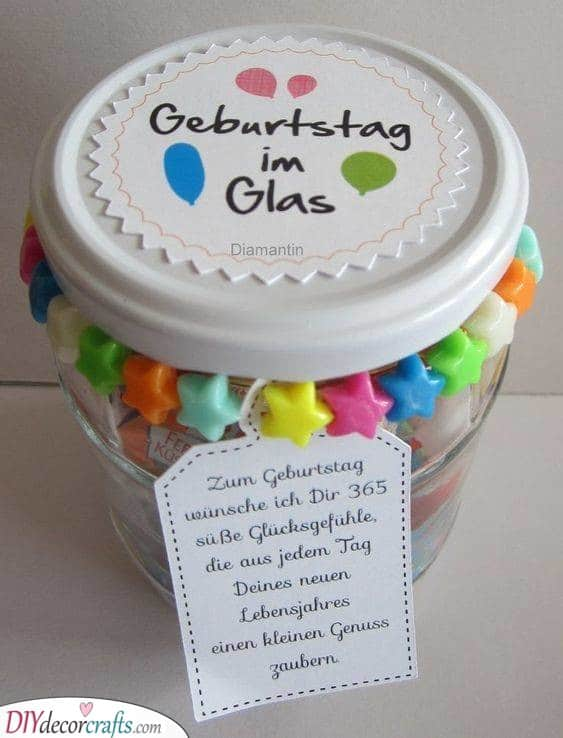 Birthday in a Jar - Unique Gifts for Mom