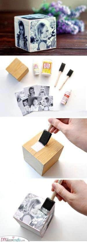 A Photo Cube - DIY Birthday Gifts for Mom