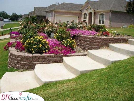 Sloped Gardens - Front Yard Landscaping Ideas on a Budget