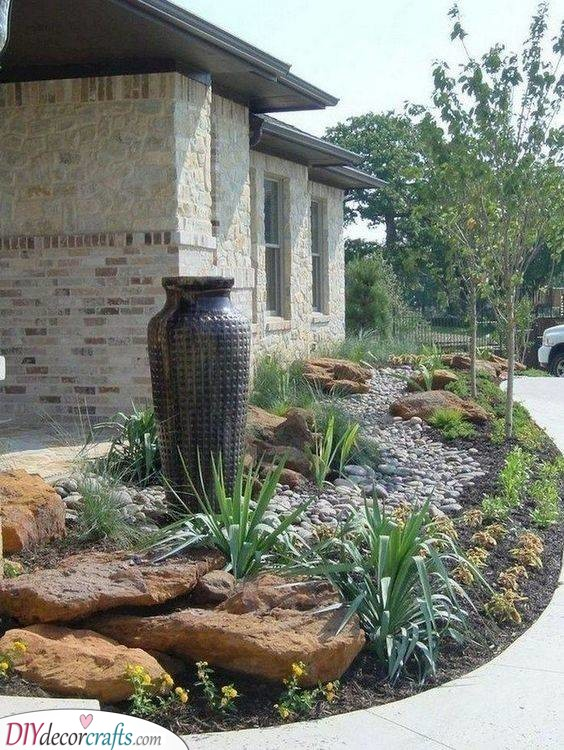 Unique Vases and Pots - Simple Front Yard Landscaping Ideas